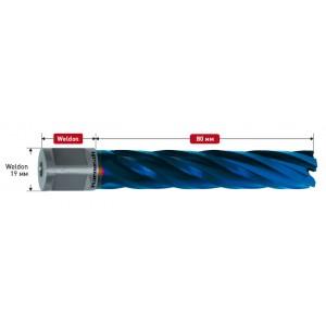 Корончатое сверло BLUE-LINE d=18mm Weldon 19 mm (3/4') р.ч. 80 мм 20.1285-018