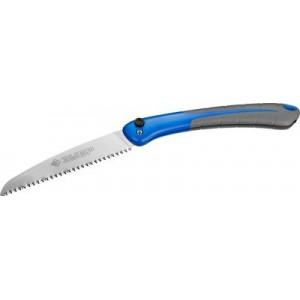 """Ножовка складная (пила) ПОХОДНАЯ 9 180 мм, 9TPI, японский зуб с трехгр. заточкой, рез """"на себя"""", компактная,точный рез сырой древесины, ЗУБР"""