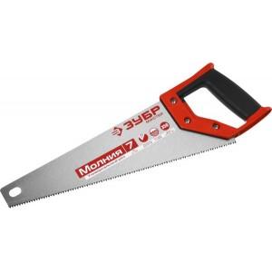 Ножовка универсальная (пила) ЗУБР МОЛНИЯ-7 350 мм, 7 TPI, закалка, рез вдоль и поперек волокон, для средних заготовок, фанеры, ДСП, МДФ