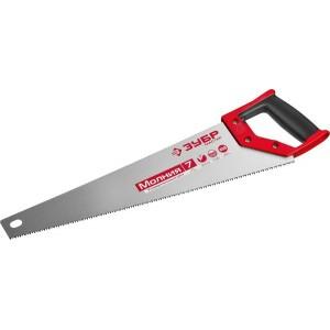 Ножовка универсальная (пила) ЗУБР МОЛНИЯ-7 450 мм, 7 TPI, закалка, рез вдоль и поперек волокон, для средних заготовок, фанеры, ДСП, МДФ