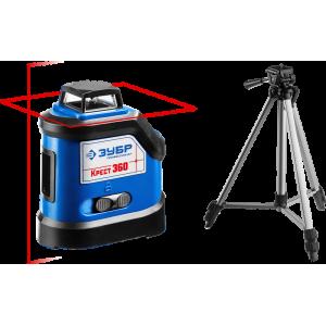 ЗУБР КРЕСТ 360 №2 нивелир лазерный 360°, 20м/70м, точн. +/-0,3 мм/м, штатив