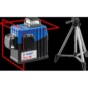ЗУБР КРЕСТ 2D №2 нивелир лазерный 2х360°, 20м/70м, точн. +/-0,3 мм/м, штатив